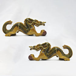 Pair of Brown Green Porcelain Dragon (Jurong)