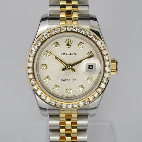 Half Gold Lady Rolex 179173 with Diamond Dial and Diamond Bezel (Toa Payoh)