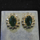 Yellow Gold A Jade Earrings With Diamonds (Tampines)