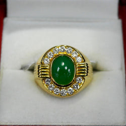 750 Yellow Gold A Jade with Diamonds Ring (Jurong)