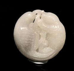 WHITE JADE PENDANT WITH MYSTICAL BIRDS CARVING