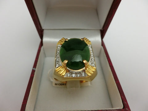 "22K ""A"" JADE DIAMOND RING WITH CERT"