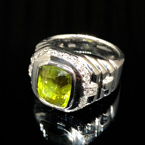 PERIDOT DIAMOND WHITE GOLD RING