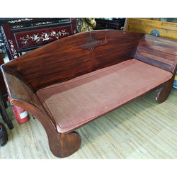 SALE:!! 2-SEATER WOODEN SOFA W/ CUSHION - (Kallang Bahru)