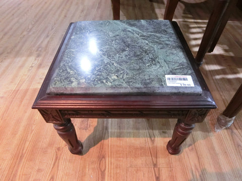 WOODEN TABLE WITH MARBLE TOP