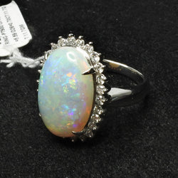 Platinum 900 Opal Ring With Diamonds (Toa Payoh)