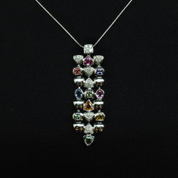 750 White Gold Fancy Sapphire Diamond Necklace (Chinatown)