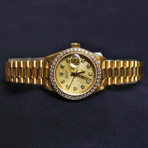 18K Yellow Gold Rolex Watch With Diamonds (Kallang Bahru)
