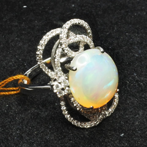 18K White Gold Opal Ring With Diamonds (Toa Payoh)