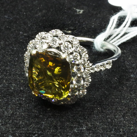 750 White Gold Tourmaline Ring With Diamonds (Toa Payoh)