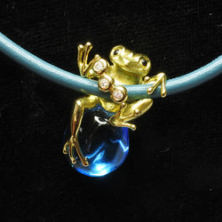 18K Yellow Gold Blue Topaz Necklace With Diamonds (Toa Payoh)