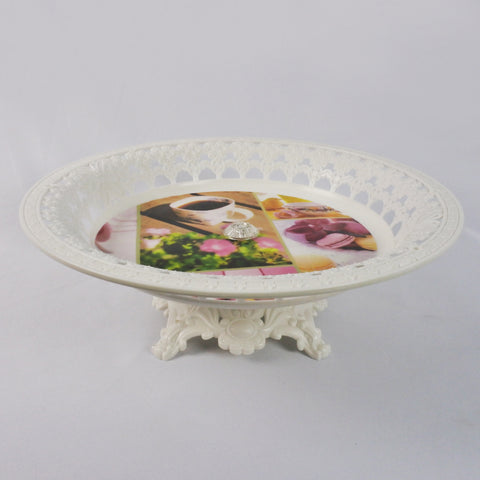 WHITE FLOWER SERVING DISH WITH STAND (Selected Stores)