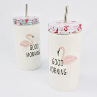 FLAMINGO TUMBLER WITH METAL STRAW (Selected Stores)