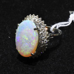 Platinum 900 Opal Ring With Diamonds (Jurong)