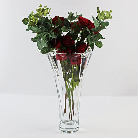 Clear Crystal Cone Shape Vase (Red Saga Seed)