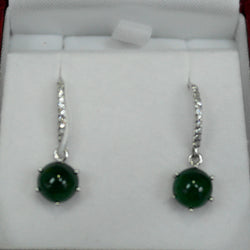 750 White Gold Jade with Diamonds Earrings (Jurong)
