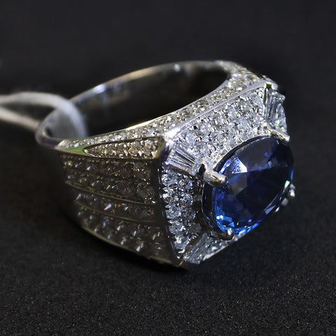 750 White Gold Blue Sapphire Ring With Diamonds (Tampines)