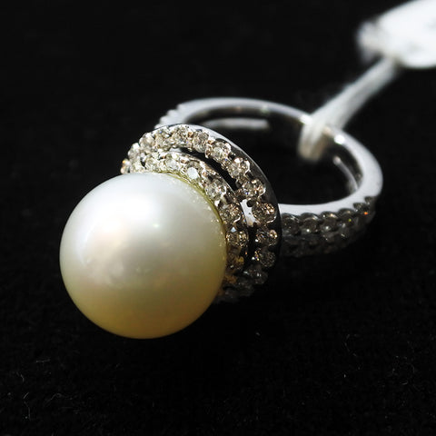 750 White Gold South Sea Pearl With Diamond Ring (Chinatown)