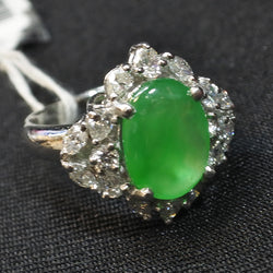 900 Platinum Jade Ring With Diamonds (Chinatown)