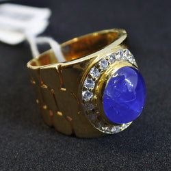 916 Yellow Gold Star Sapphire Ring With Diamonds (Tampines)