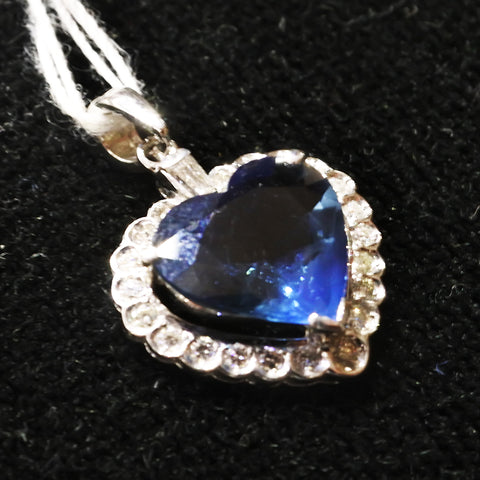 750 White Gold Sapphire Pendant With Diamonds (Kallang Bahru)