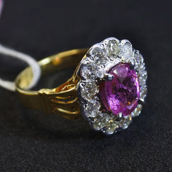 750 Yellow Gold Pink Sapphire Ring With Diamonds (Tampines)