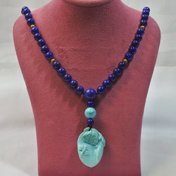 Lapis Beads With Turquoise Pendant (Chinatown)
