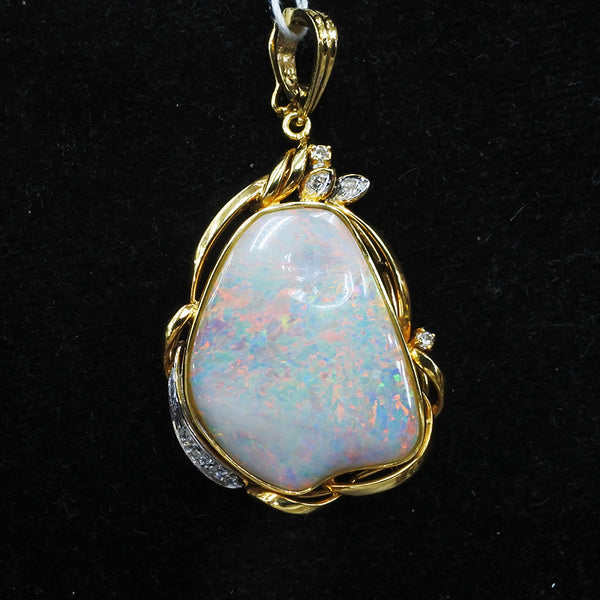 18K Yellow Gold Opal Pendant With Diamonds (Jurong)