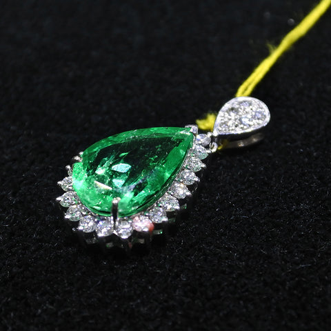18K White Gold Emerald Pendant With Diamonds (Kallang Bahru)