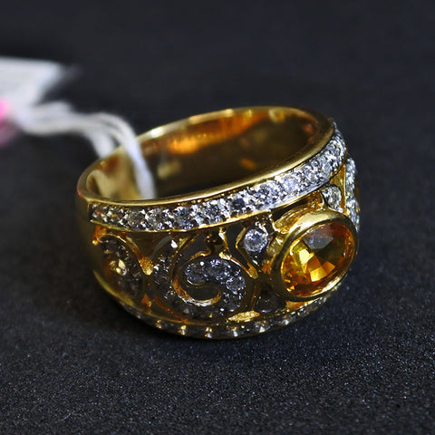 20K Yellow Gold Yellow Sapphire Ring With Diamonds (Tampines)
