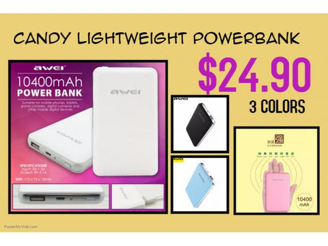 ONLY AVAILABLE AT OUR TOA PAYOH OUTLET - AWEI 10400 CANDY LIGHT POWERBANK