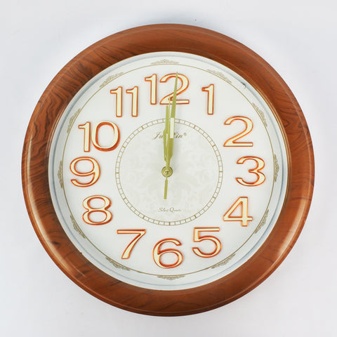 WOOD GRAIN DESIGN LARGE ROUND WALL CLOCK (Selected Stores)