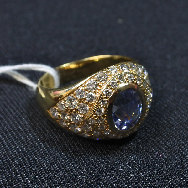 750 Yellow Gold Blue Sapphire Ring With Diamonds (Chinatown)