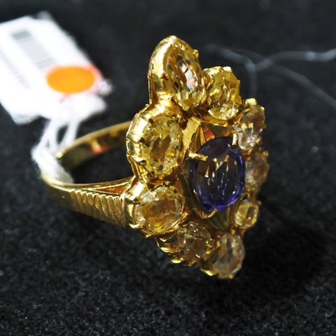 20K Yellow Gold Blue Sapphire Ring With Diamonds (Kallang Bahru)
