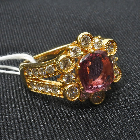 750 Yellow Gold Pink Sapphire Diamond Ring (Toa Payoh)
