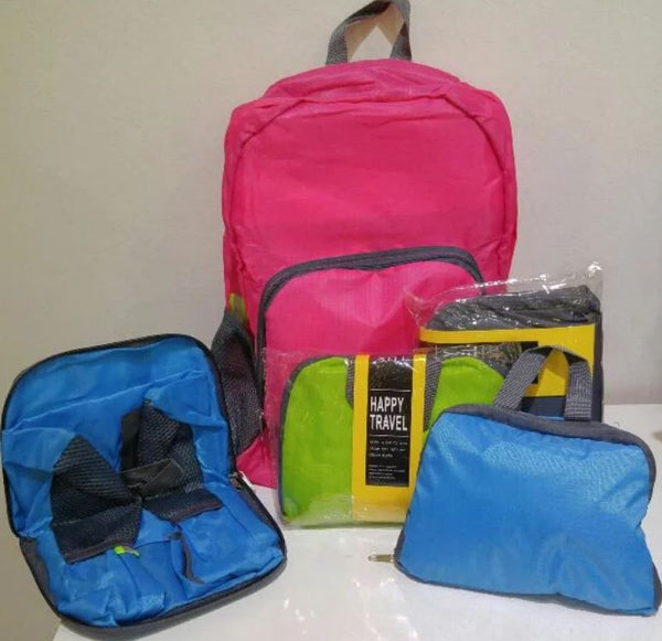 Online - Backpacks Foldable - 4 Cheery Colors Pink, Green, Blue, or Grey