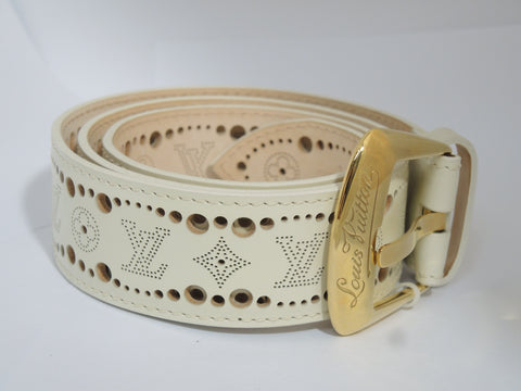 ONLY AVAILABLE AT OUR KALLANG BAHRU OUTLET - LOUIS VUITTON BELT (WHITE)