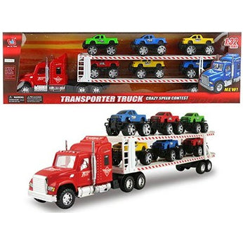 BRAND NEW TOY TRANSPORTER TRUCK WITH 6 4-WHEEL DRIVE CARS