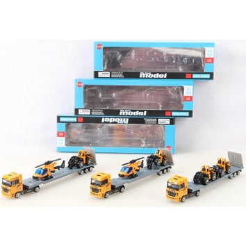 BRAND NEW DIE CAST TRAILER WITH 2 VEHICLES (YELLOW)