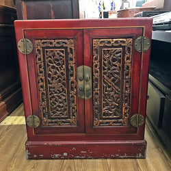 A Vintage Chinese Side Cabinet in Red - (Kallang Bahru)