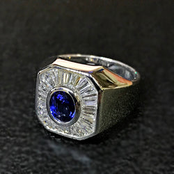 750 White Gold Blue Sapphire Ring With Diamonds (Kallang Bahru)