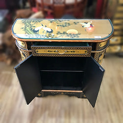LACQUERED CONSOLE CABINET W/ GLASS TOP - (Kallang Bahru)