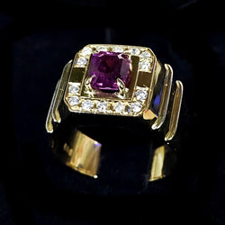 850 YELLOW GOLD WITH PINK SAPPHIRE AND DIAMONDS RING (Kallang Bahru)