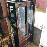 WOODEN DISPLAY CABINET WITH GLASS AND BRASS HARDWARE - (Kallang Bahru)