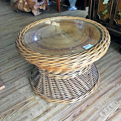 RATTAN ROUND COFFEE TABLE - (Kallang Bahru)