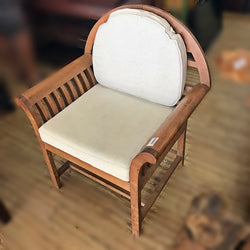 SINGLE TEAKWOOD ARMCHAIR WITH CUSHION  - (Kallang Bahru)
