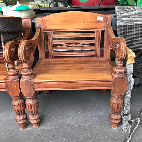 TEAKWOOD ARMCHAIR WITH CARVINGS - (Kallang Bahru)