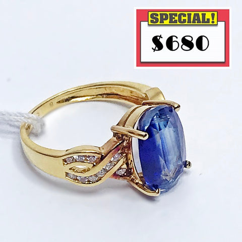 850 Yellow Gold RING with KYANITE and Diamonds - (Kallang Bahru)