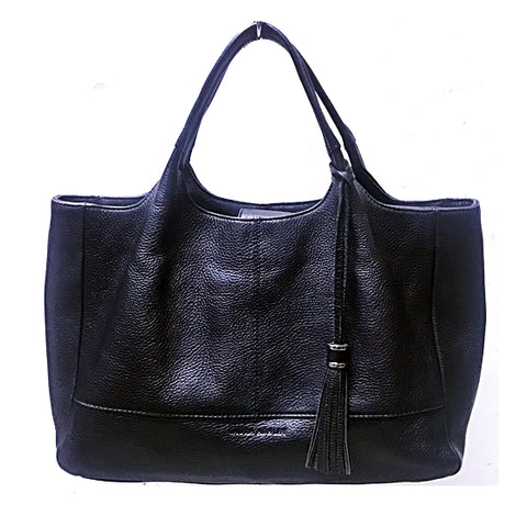 LAURA ASHLEY FULL LEATHER HANDBAG IN BLACK - (KALLANG BAHRU)