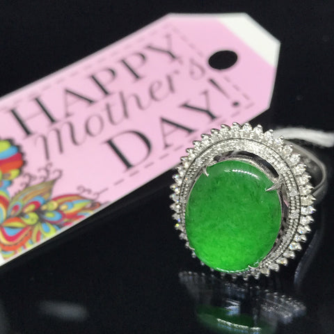 ONLY AVAILABLE OFFLINE - White Gold Jade Ring with 42 diamonds surrounding
